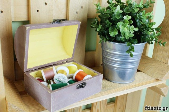 Διακόσμηση κουτιού με chalky paint και τεχνική παλαίωσης