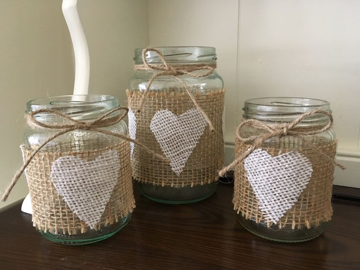 Burlap jars  See my etsy shop to purchase