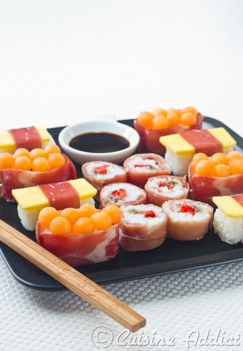 Sushis sucrés-salés à la charcuterie Aoste et Fruits d'été