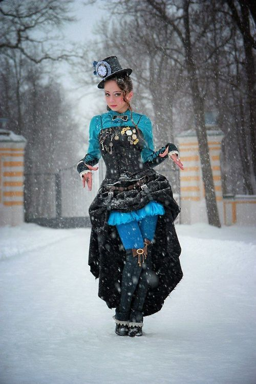 Love steampunk and color! Victorian garments were colorful, just go for it!
