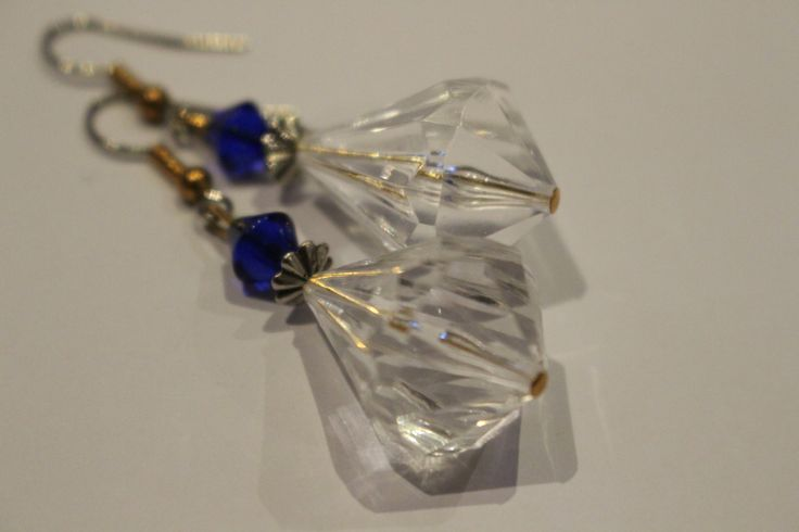 clear and blue earrings by 1OfakindHomemade on Etsy