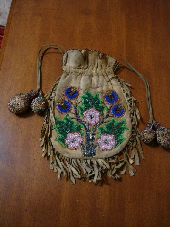 beaded native american purse by lakotaantiques on Etsy, $600.00