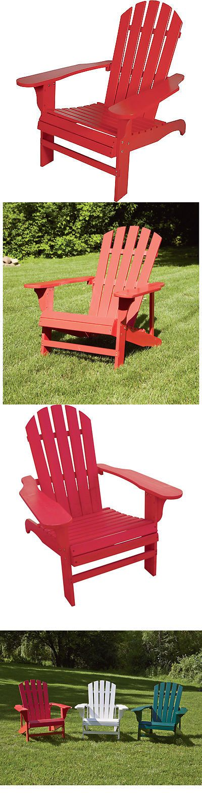 Chairs 79682: Classic Red Painted Wood Adirondack Chair -> BUY IT NOW ONLY: $59.99 on eBay!