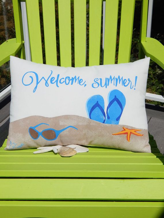 WELCOME SUMMER hand painted pillow 15x20 flip flops by crabbychris