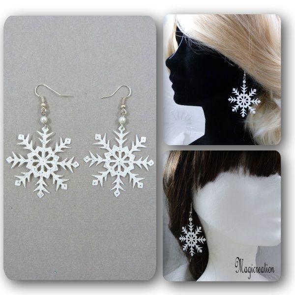 boucles oreilles flocon neige blanc argenté grand modèle