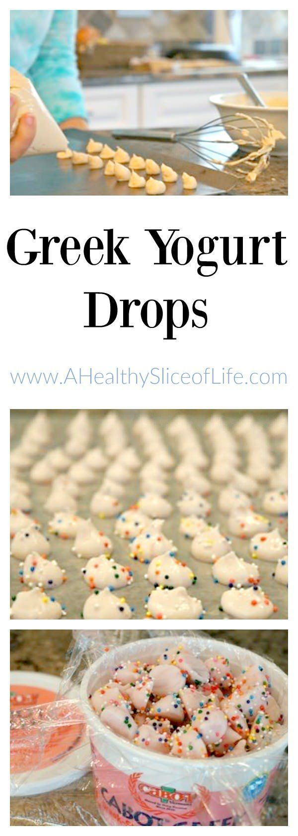 DIY Greek Yogurt Drops recipe for Kids (young and old). Frozen Greek yogurt drops! I made them Thursday morning on my Thinking Outside the Lunchbox segment on FOX News Rising. These kid-friendly Frozen Greek Yogurt drops are great for kids of all ages, from baby led weaing to toddler snacks and beyond, they are a healthy, delicious treat!