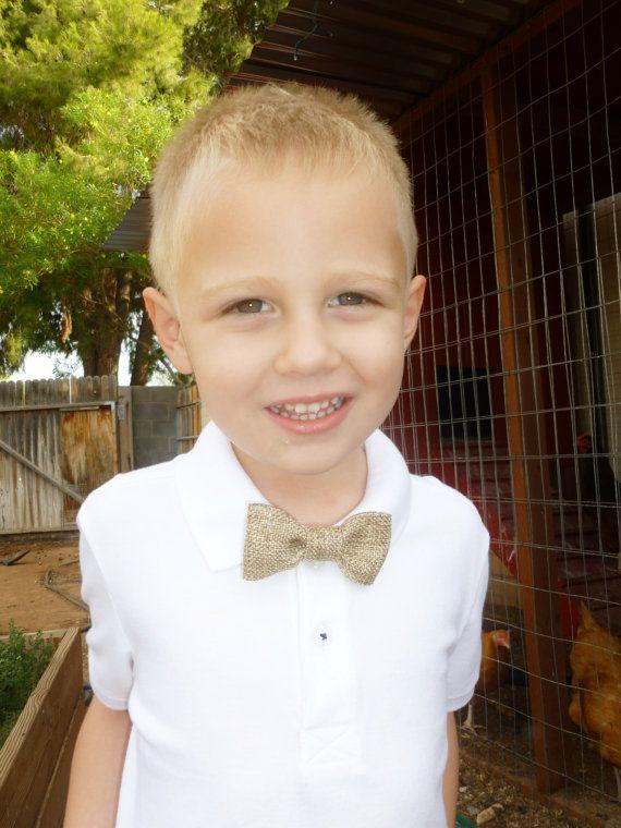 burlap clip on bow tie for little boys rustic by BowsForShow, $3.99