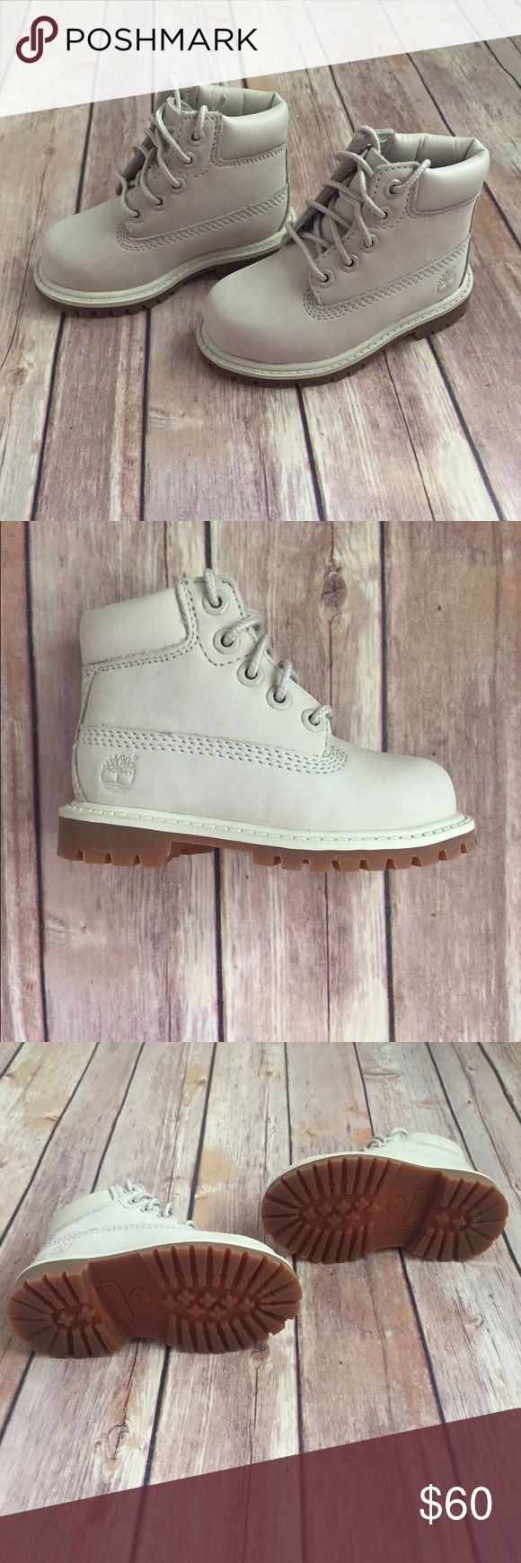 Timberland Boots Toddler size. Cream/gray color. Gender neutral. No box. Never worn. Open to offers, price won't be negotiated in comments. Timberland Shoes Boots