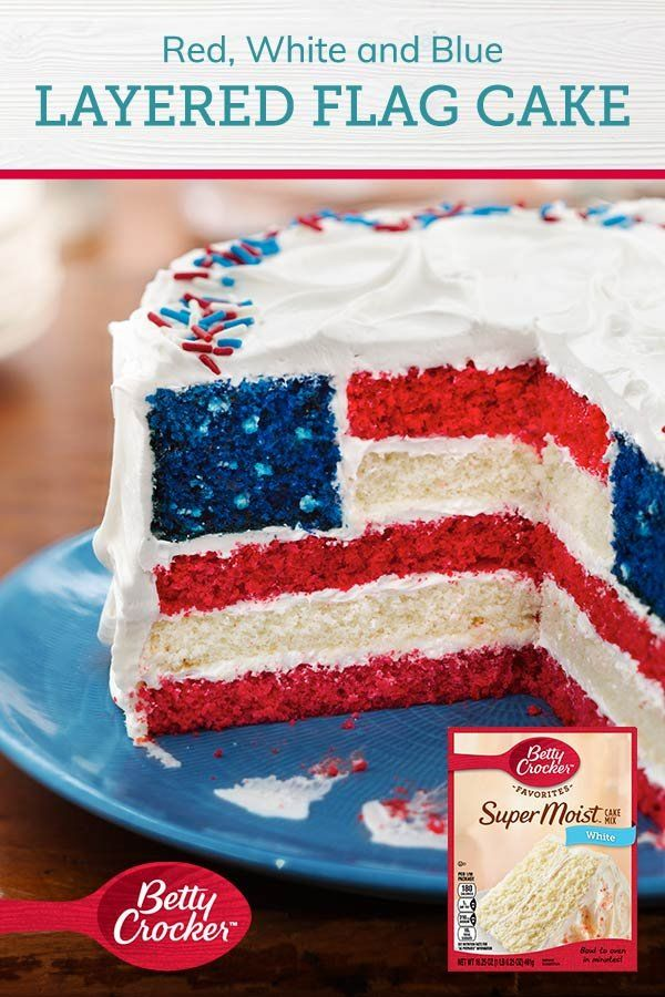 Red White And Blue Layered Flag Cake Recipe Cake 4th Of July Desserts Desserts