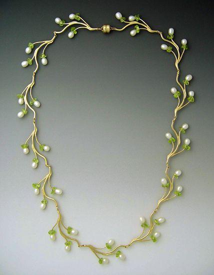 """Pearl & Peridot Branch Necklace"": Gold, Pearl & Peridot Necklace - Ellen Vontillius"