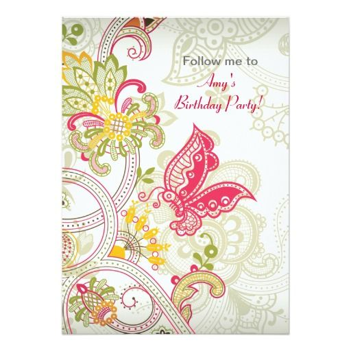 Best Feminine Birthday Party Invitations Images On Pinterest - Birthday invitation background vector
