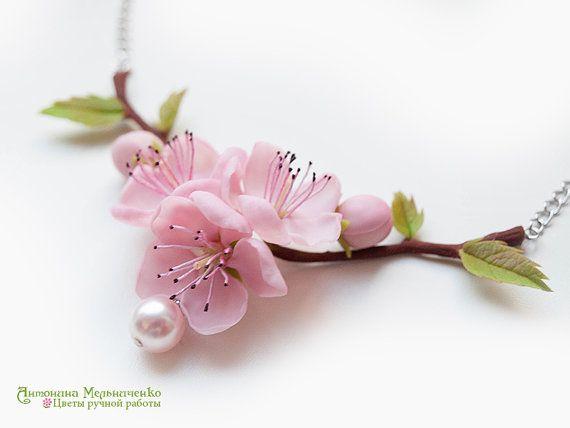 Necklace Sakura Cherry Blossom Peach Polymer by SaisonRomantique