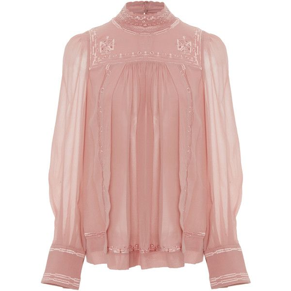 Isabel Marant Maeva Mock Neck Blouse found on Polyvore featuring tops, blouses, pink, shirts, pink top, see through tops, ruched blouse, transparent blouse and sheer cami
