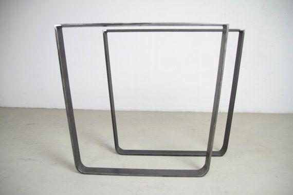 INDUSTRIËLE TAFELPOTEN, set van 2 U-vorm industriële Raw poten van staal, staal industriële benen, verkrijgbaar in elke kleur, ruwe staal benen