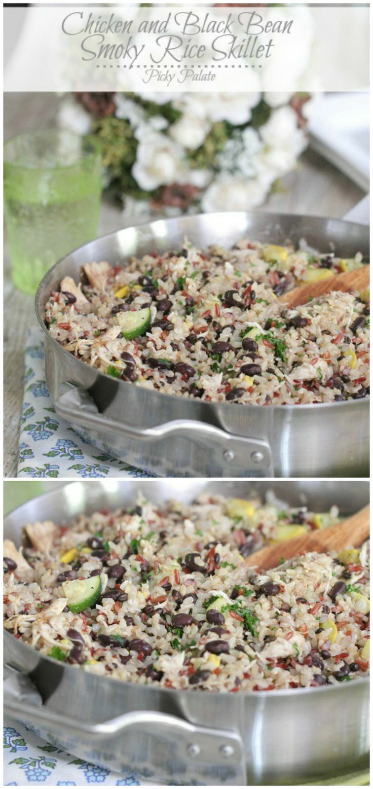 Chicken and Black Bean Smoky Rice Skillet.  Great weeknight dinner!