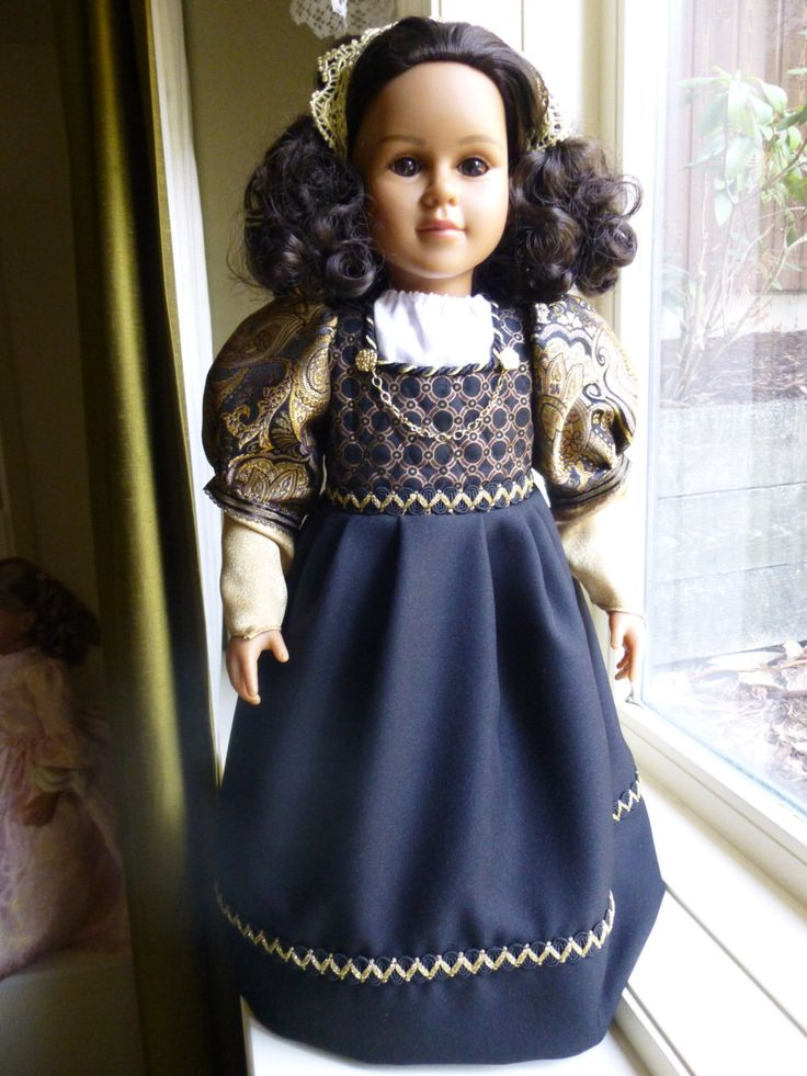 "Portuguese Empire:  Brazilian Beauty 23"" OOAK handpainted my twinn / My Twinn doll in black/gold late colonial period dress by SewUniqueDolls on Etsy https://www.etsy.com/listing/126797962/portuguese-empire-brazilian-beauty-23"