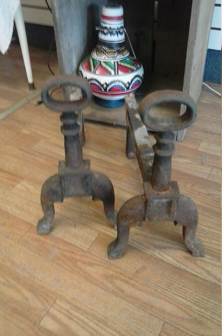 Hand Forged Blacksmith Antique Iron Fireplace Log Andirons