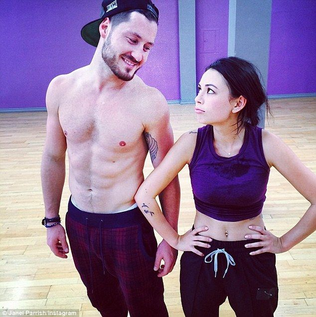 Dynamic duo: Janel Parrish Instagrammed this image with dance partner Val Chmerkovskiy on Saturday, writing, 'Me tired. Him laughing at me. GO TEAM @iamvalc #dwts #ninedaysleft #teamjanelskiy'