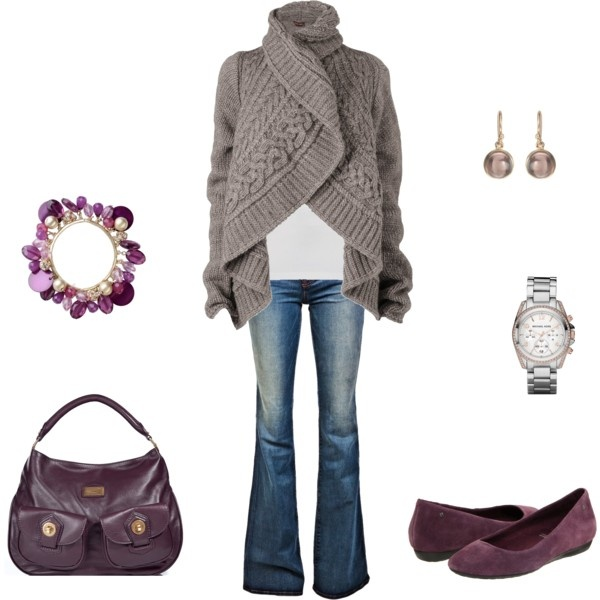grey and mauve, wrap sweater, flats.