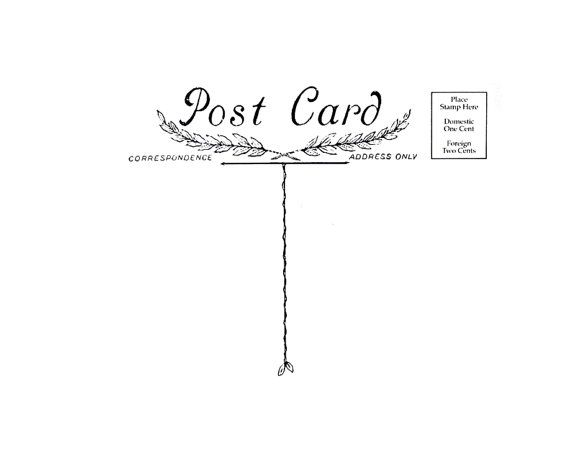 SALE Antique Post Card  Rubber Stamp Postcard by terbearco on Etsy, $13.99