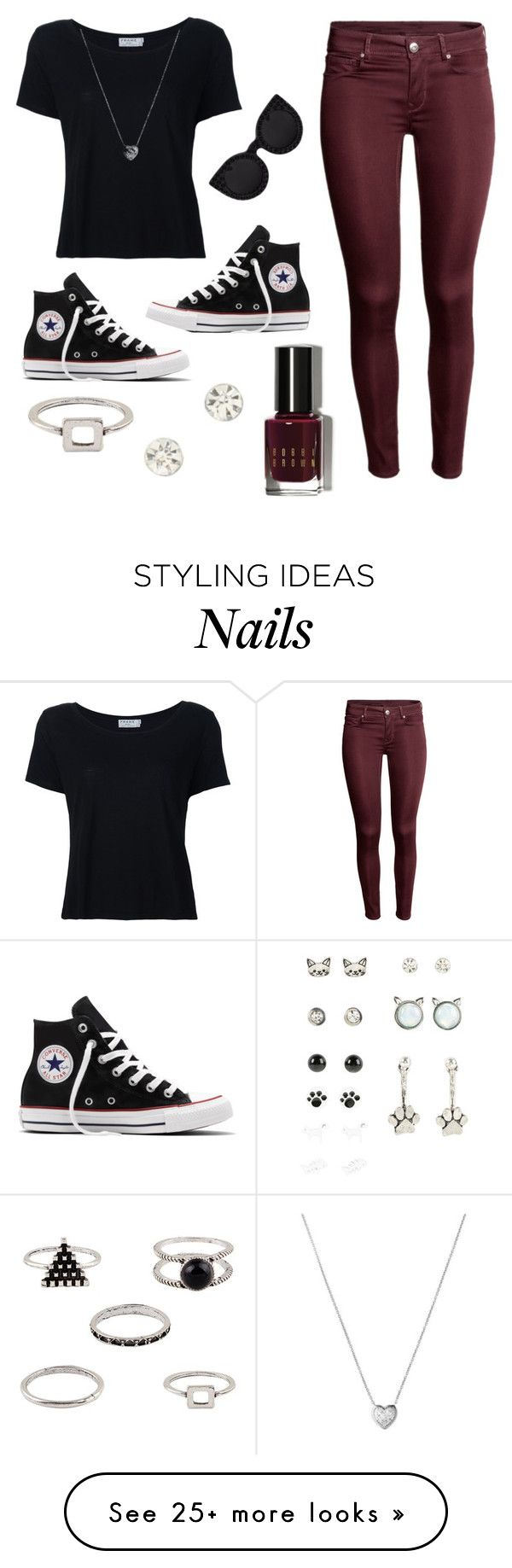"""Booty"" by jjwahlberg on Polyvore featuring Frame Denim, Converse, Delalle, Links of London and Bobbi Brown Cosmetics"