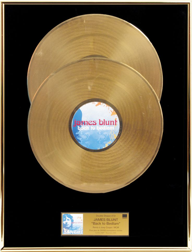 James Blunt Personal French Gold Record Award