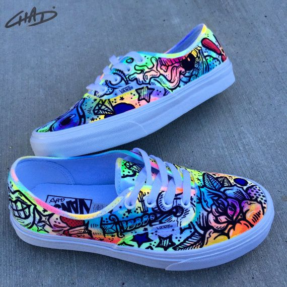 Battery Acid Hand Painted Vans Authentics Shoes by ArtOfTheSole