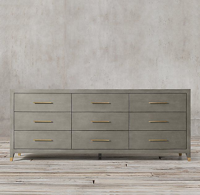 "Graydon Shagreen 9-drawer Dresser. A good option for the main bedroom chest if you only want/need one chair over there. This one is 84"" wide."