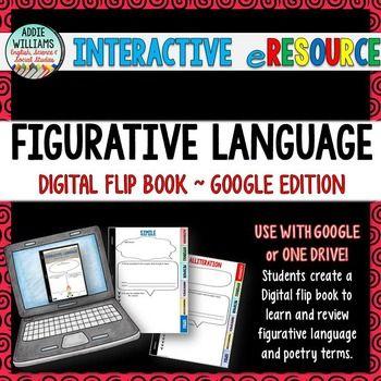 Figurative Language Digital Flip Book - great for Google classrooms and 1:1 rooms! #tptdigital