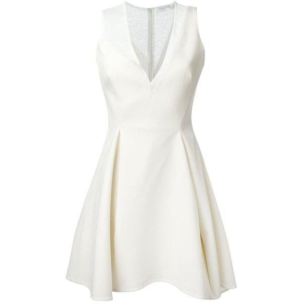 Victoria Beckham V-Neck Skater Dress (€2.110) ❤ liked on Polyvore featuring dresses, white, white v neck dress, v neckline dress, white day dress, victoria beckham and victoria beckham dresses