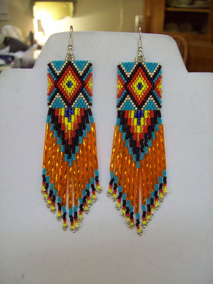 Native American Beaded Diamond Rug Earrings by BeadedCreationsetc, $35.00