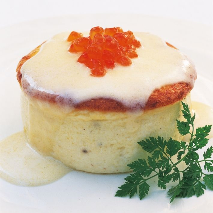 SOUFFLÉED SOLE CREAMS,  with Champagne Sauce --- This recipe is blissfully easy and all of it can be prepared in advance. In fact, I find it works best if you prepare the purée the day before.  (Delia Smith).  Christmas