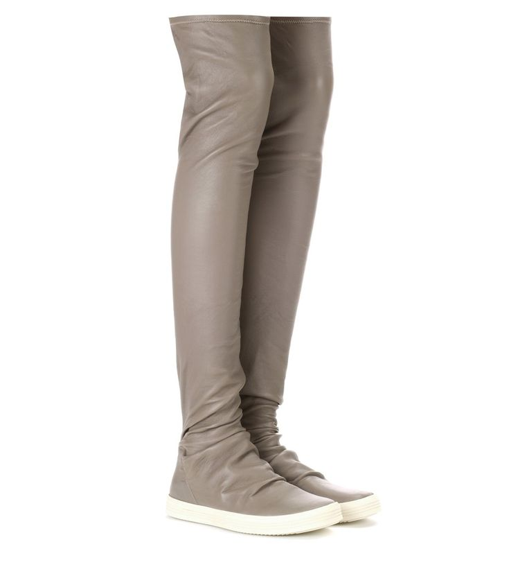 Rick Owens - Over-the-knee leather sneakers - Rick Owens' sneakers have been crafted in Italy from stretch leather in a stocking-like over-the-knee design. seen @ www.mytheresa.com
