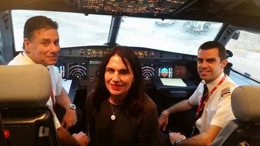 "Let's all wish Theresa Dalli the best birthday ever! Today our special guest left Malta for Rome and we surprised her with a warm welcome onboard KM612 by Captain Geoffrey Farrugia and First Officer Ramon Portelli, followed by champagne treatment 🍾 Special thanks to daughter Shakyra Jonsson for helping us make mum's wish a reality and sending us this pic, reviewing us with 5 stars and ""Extraordinary service, by far one of the best airlines""."