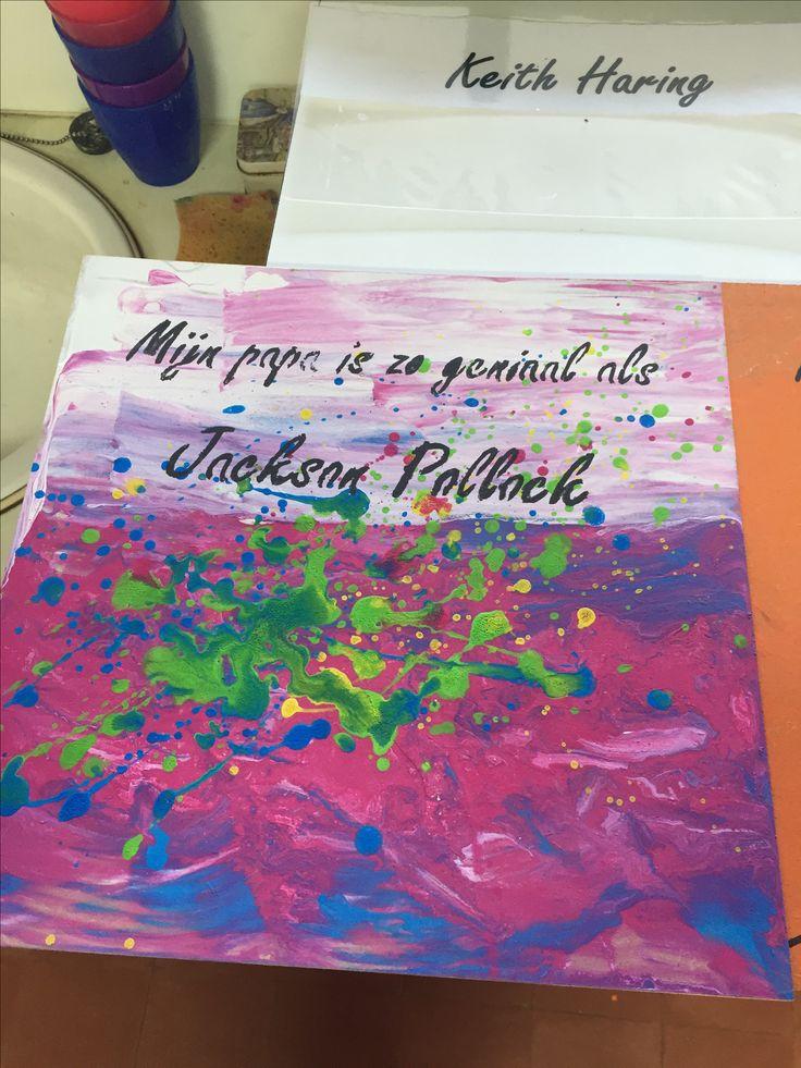Vaderdag - 2 kleuren aanbrengen en open smeren met kartonnetje, spatten met felle kleuren verf, letters aanbrengen met sjabloon