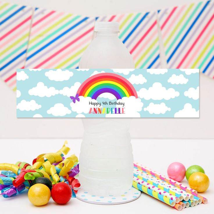 Rainbow Drink Labels | Personalised Rainbow Party Water Bottle Stickers.  Visit website to see details and for more matching Rainbow Party Printables from Print & Party
