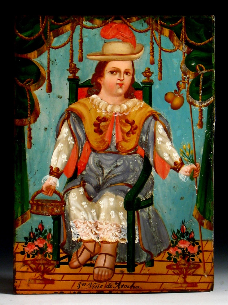 """Santo Niño de Atocha""  Mexico  Oil on metal  Circa 1875  13 3/4 x 10 inches"