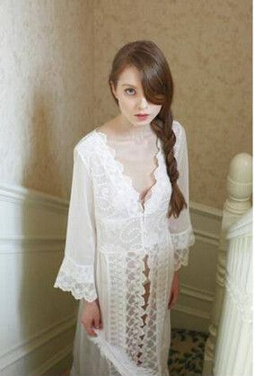 Lisacmvpnel New Arrival ! Sleepwear summer robe female lingerie lace lounge Chiffon nightgown