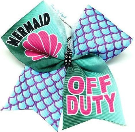 Bows by April - Mermaid OFF DUTY Cheer Bow, $15.00 (http://www.bowsbyapril.com/mermaid-off-duty-cheer-bow/)