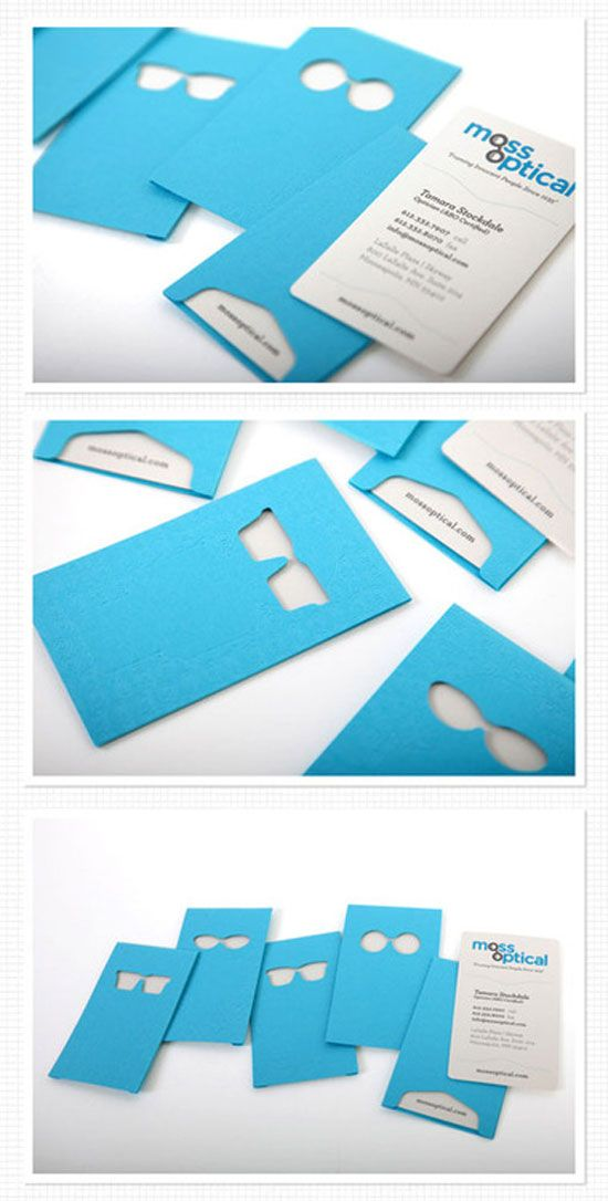 Moss optical business card business card stationary for Cutout business cards