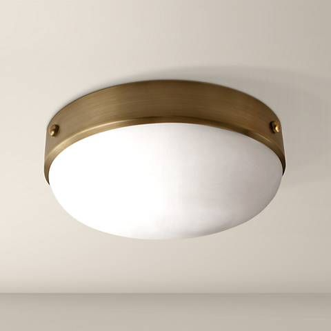 "Feiss Cadence 13"" Wide Dark Antique Brass Ceiling Light"