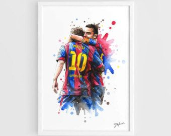 Lionel Messi & Xavi (Barcelona FC) - A3 Wall Art Print Poster of the Original Watercolor Painting Football Poster Soccer Poster