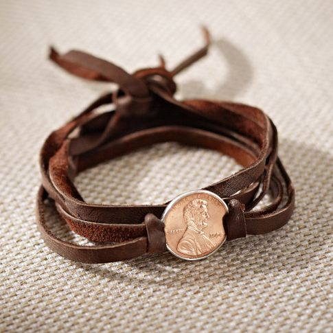 Penny Lane Bracelet. This is from PB teen, but I feel like it could be very easy to make with a penny and some strips of brown leather! Must try to recreate!