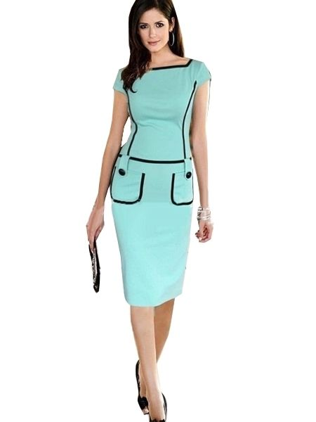 Patch Color Short Sleeve Pockets Bodycon Dress