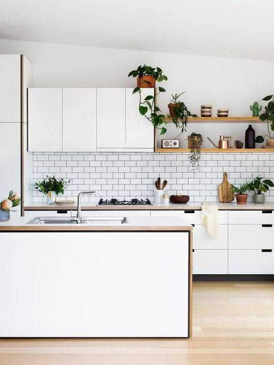 contemporary cabinets, classic subway tile, tiny potted plants.
