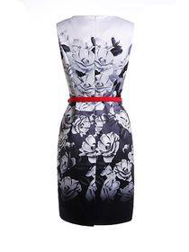 Sleeveless Floral Elegant Sheath Mini Dress With Sash img