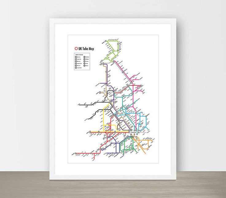 uk tube map print by over & over | notonthehighstreet.com