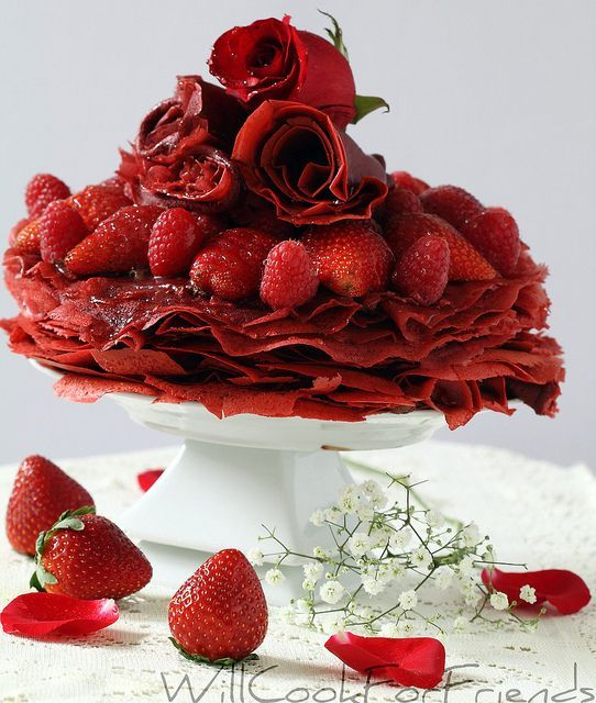 red velvet crepes   Red Velvet Crepes with chocolate mascarpone whipped cream