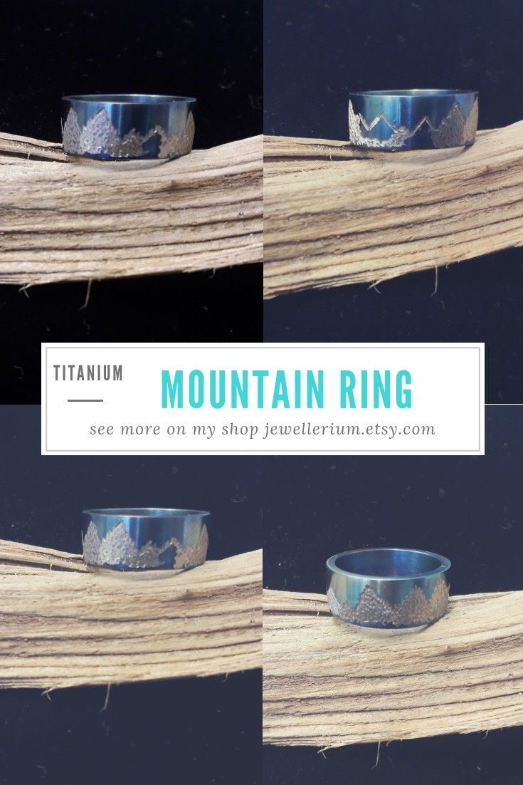 Titanium Wedding Hypoallergenyc  Ring With Haotyc Structure Hammered Oxygenating Blue Colour Lord Of The Ring Handcrafted r Fiancee Promised