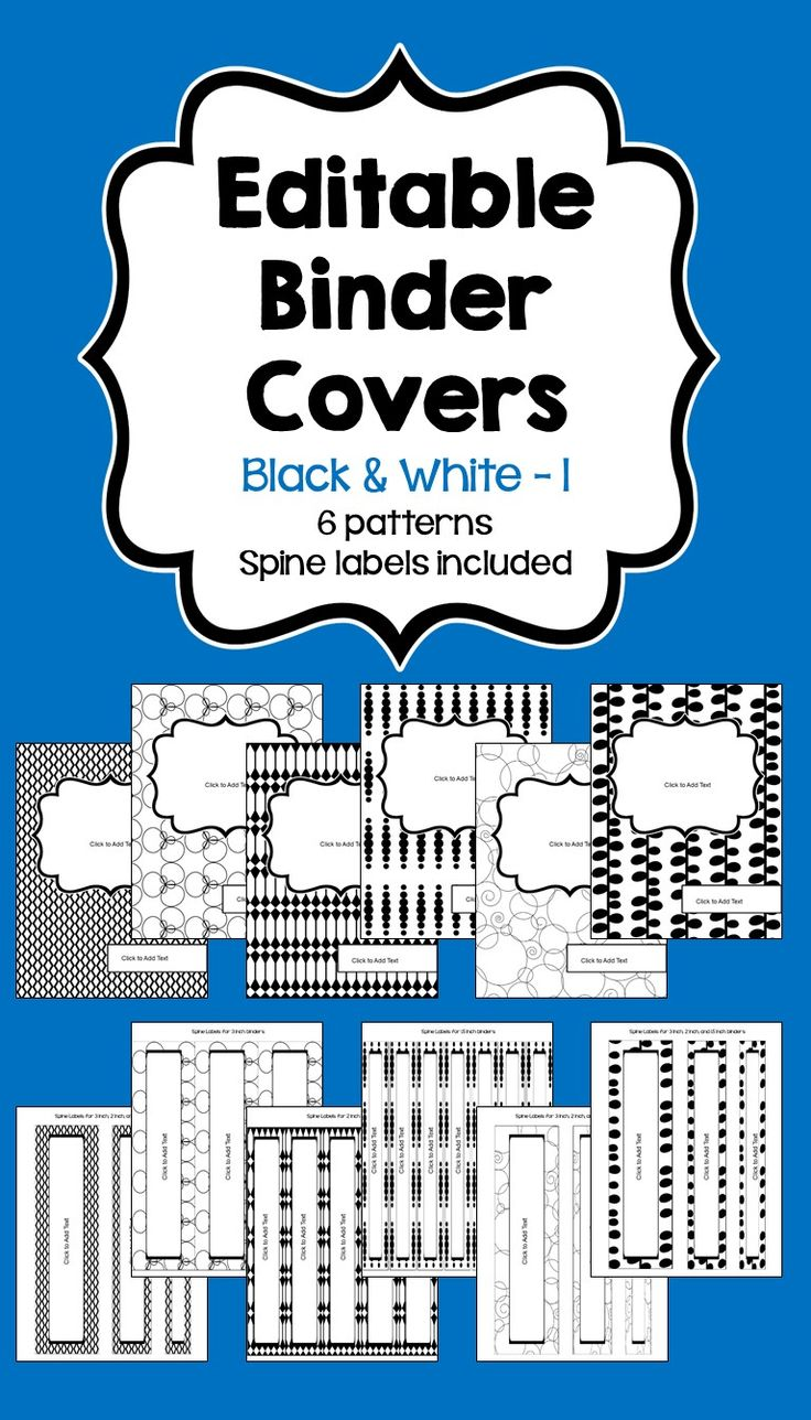 editable binder covers spines in black white part 1 colors the o 39 jays and texts. Black Bedroom Furniture Sets. Home Design Ideas